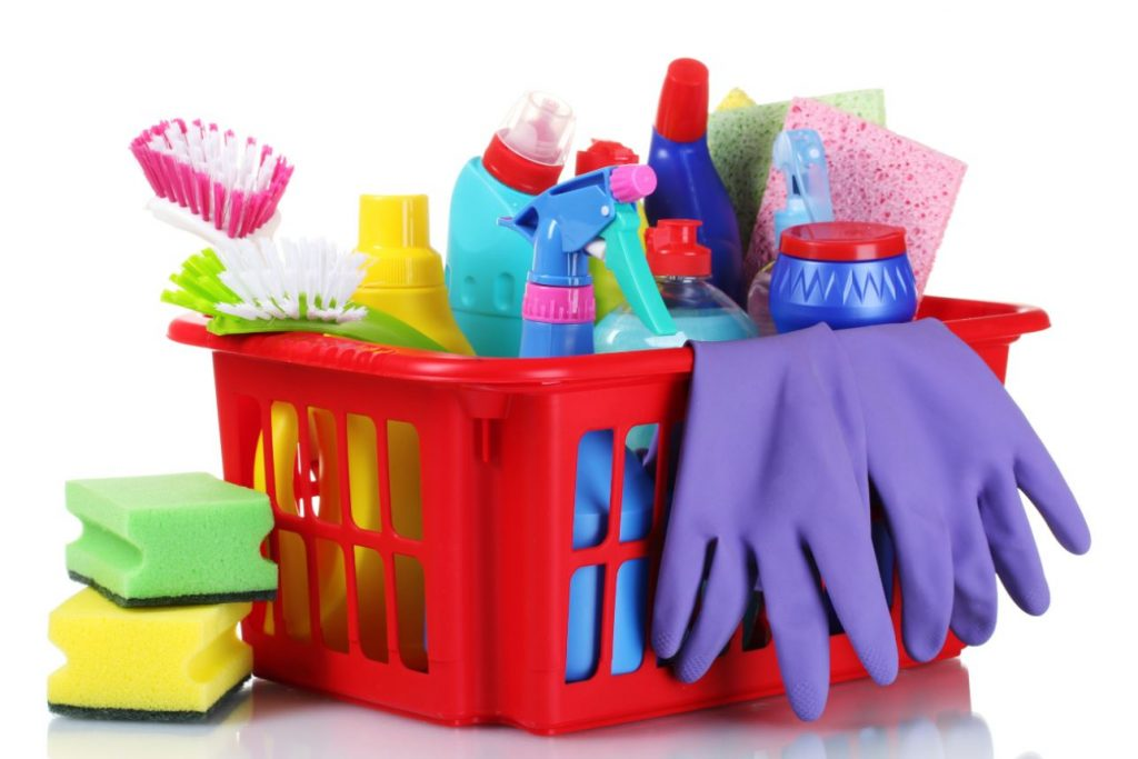 cleaning supplies basket